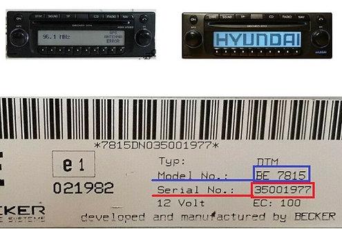 Hyundai becker DTM High Speed BE7818 BE7918 radio code