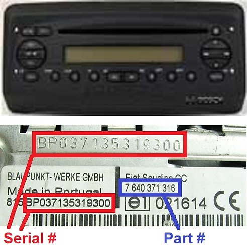 FIAT Multipla186 CD SB05radio code