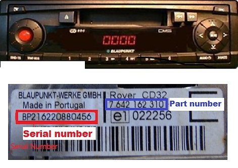 ROVER Blaupunkt CD32 radio code