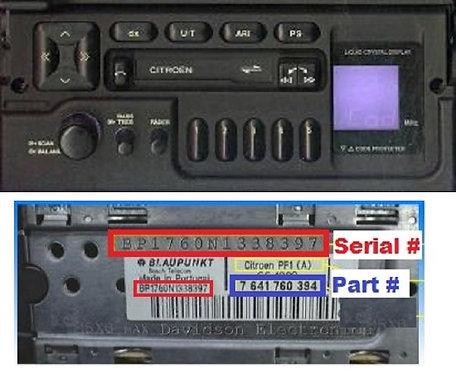 Citroen Blaupunkt PF1Dradio code