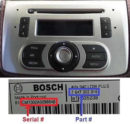 Alfa Mito Bosch 955 radio code