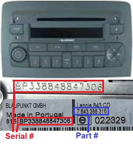 LANCIA Blaupunkt MUSA 848 C1V2 CDradio code