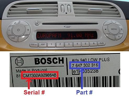 Fiat Bosch 500 312 Ivory radio code
