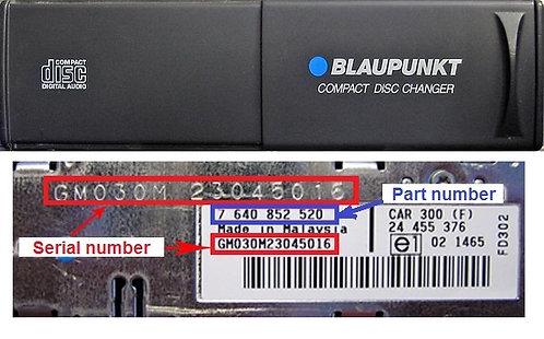 OPEL Blaupunkt CDC2 cd changer GMCDC2radio code
