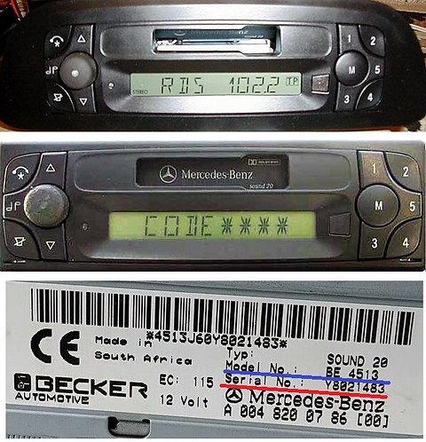 Mercedes Becker Sound 20 radio code