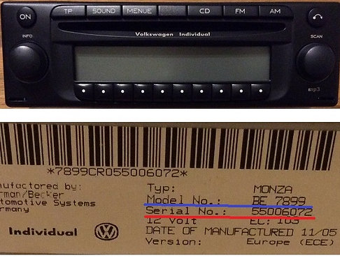 Volkswagen becker Monza mp3 individual BE7899 radio code