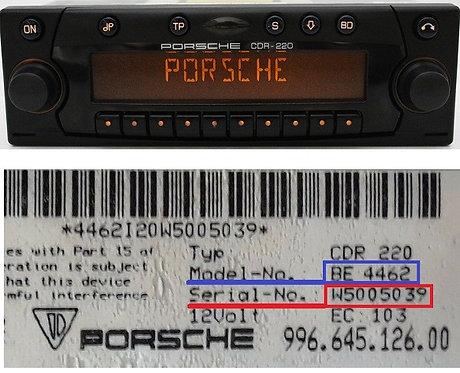 Porsche becker cdr220 BE4462 BE6625 radio code