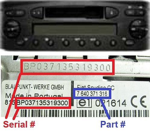FIAT 244 223 CC radio code