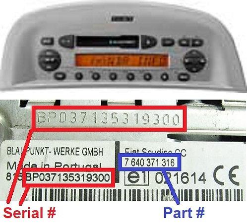 FIAT PALIO178 CC radio code
