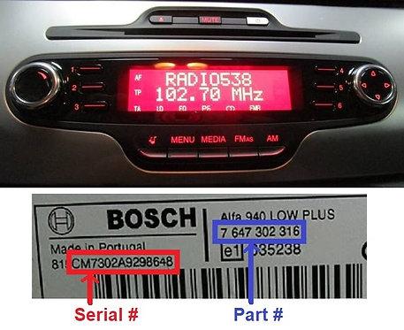 Alfa Bosch GIULIETTA 940 radio code