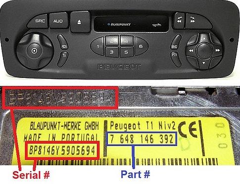 PEUGEOT Blaupunkt T1 NIV2-T1 TOPradio code