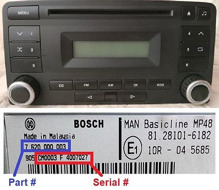 Man Bosch Basicline MP48 radio code