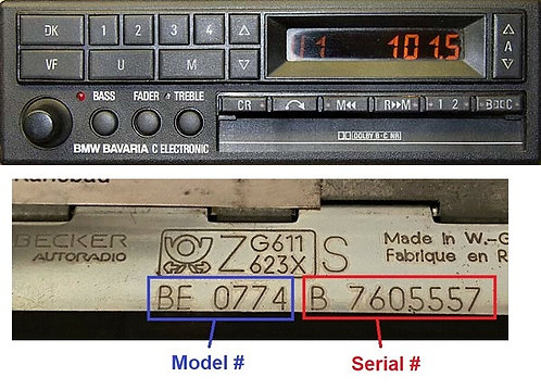 BMW becker Bavaria c electronic BE0728 radio code