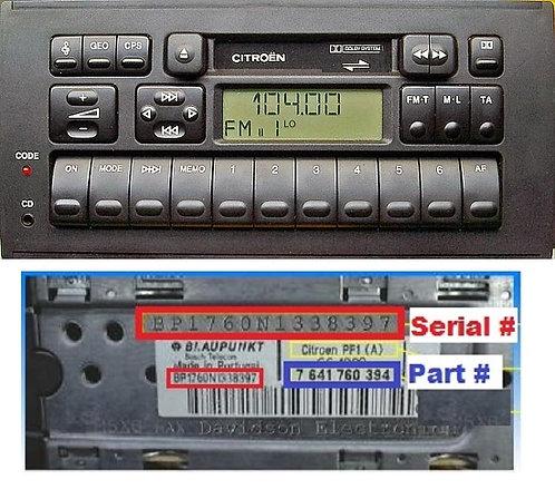 Citroen Blaupunkt PH1Cradio code