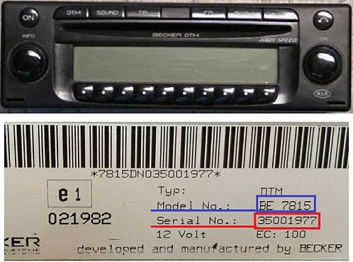 Kia becker DTM high speed be7919 radio code