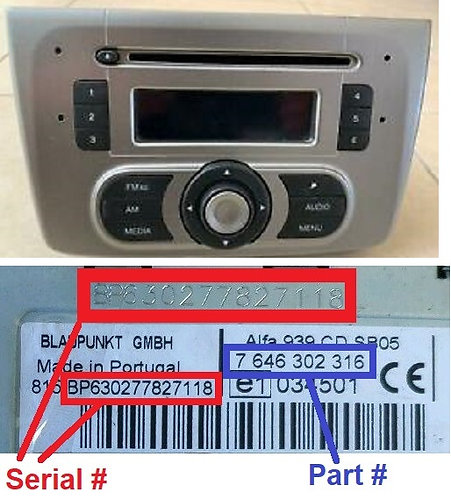 ALFA Mito 955 MP3 JP radio code