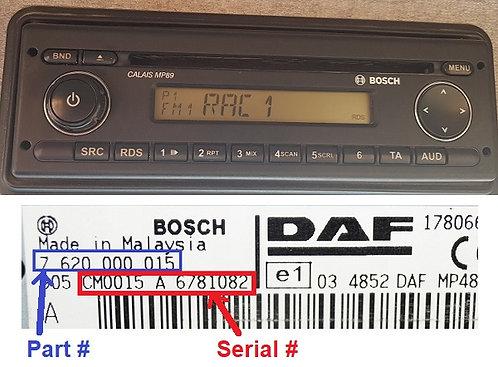 DAF Bosch CALAIS MP89 radio code