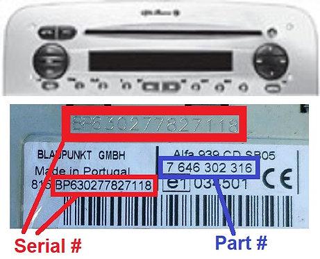 ALFA 147 937947 C1V2 CDradio code