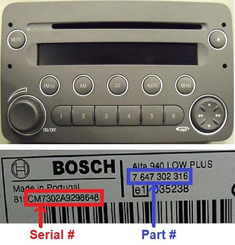 Alfa 159 Bosch 939 radio code