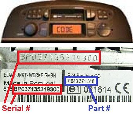 FIAT PUNTO LOW RHDradio code