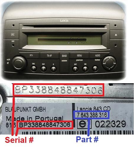 LANCIA Blaupunkt YPSILON 843 CDradio code