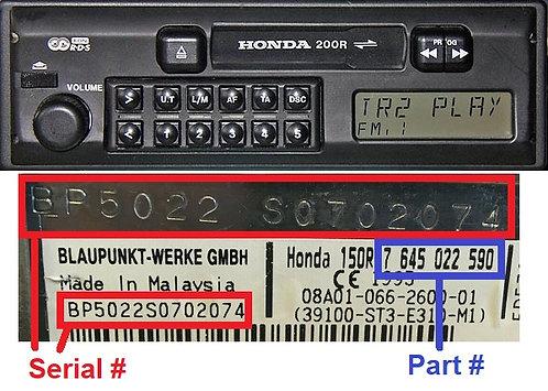 HONDA 200R radio code
