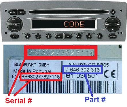 ALFA 147 937 Japan CD radio code