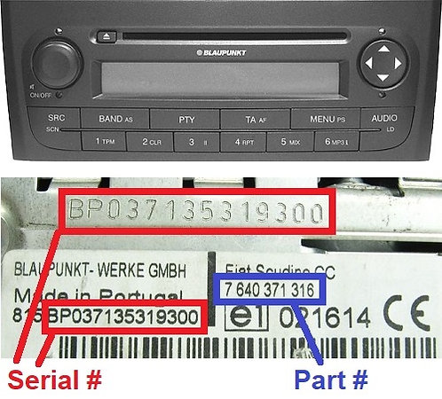 FIAT PUNTO 199 CDradio code