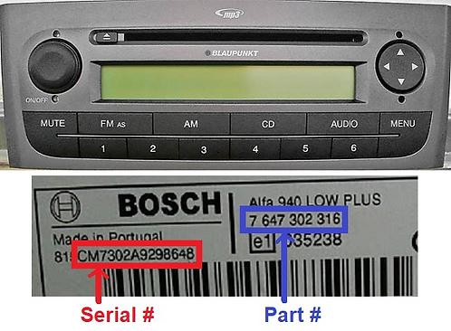 Fiat Bosch Punto 199 323 Mp3 radio code