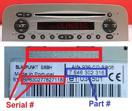 ALFA 147 937CDradio code