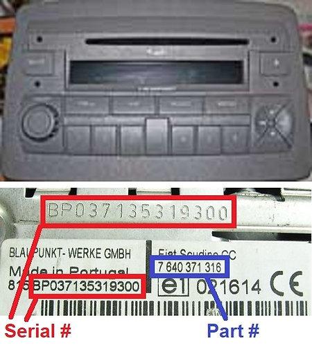 FIAT PANDA169 C1V2 MP3radio code
