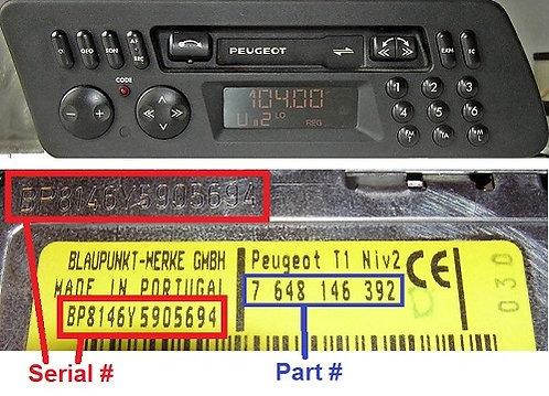 PEUGEOT Blaupunkt PF3radio code