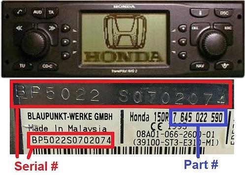 HONDA RNS 3radio code