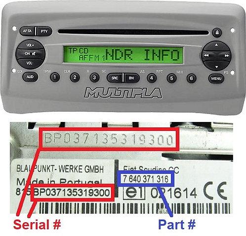 FIAT Multipla186 CDradio code