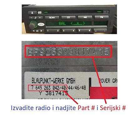 Land Rover Blaupunkt CD radio code