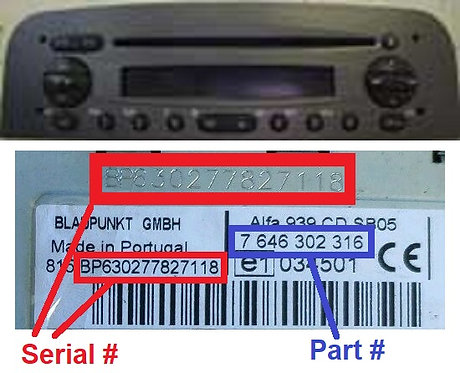 ALFA 147 937 GTA CD radio code