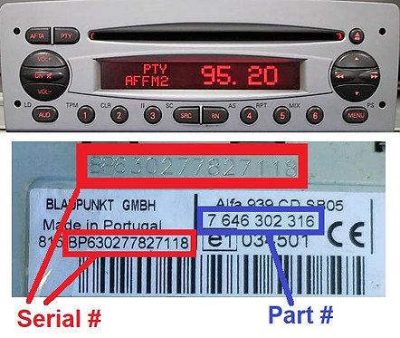 Alfa 156 Blaupunkt 932 CD radio code