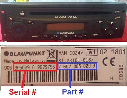 MAN Blaupunkt CD 24v radio code
