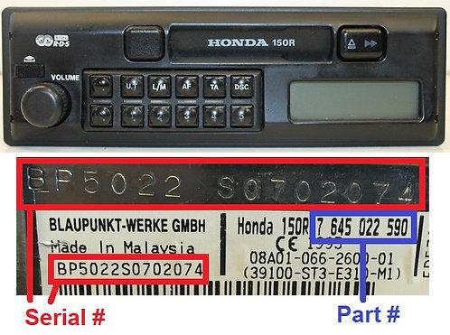 HONDA 150R radio code