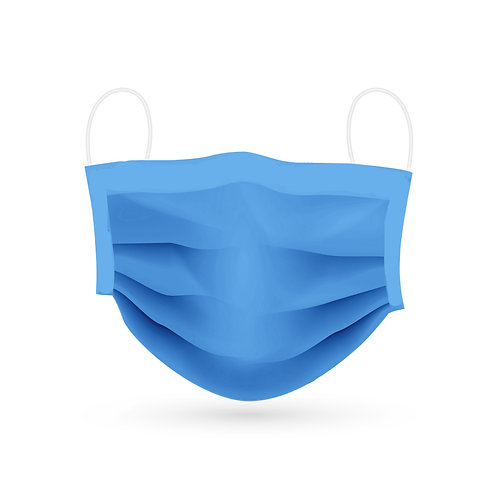 Himmelblau Mund- und Nasenmaske aus Baumwolle. Vorderansicht.