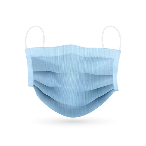 Hellblau Mund- und Nasenmaske aus Baumwolle. Vorderansicht.