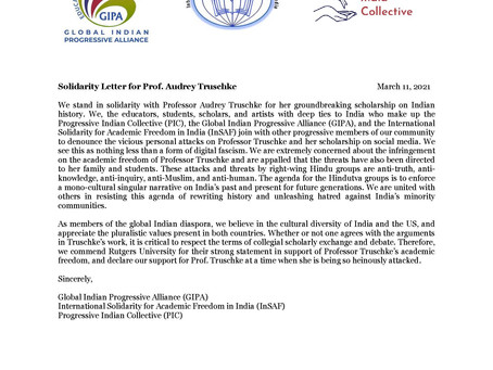 Collective statement by GIPA, PIC and InSAF India in support of Audrey Truschke