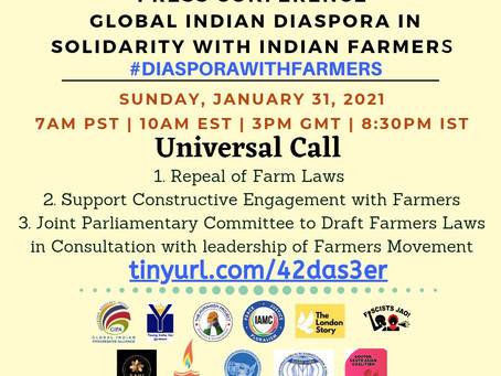 Global Indian Diaspora press conference in support of the ongoing farmers' protest in India