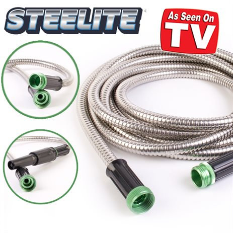 Steelite Stainless Steel Metal Garden Hose - 25 Feet