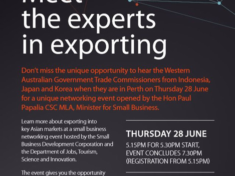 Invitation - Business Networking Event opened by the Hon Paul Papalia CSC MLA