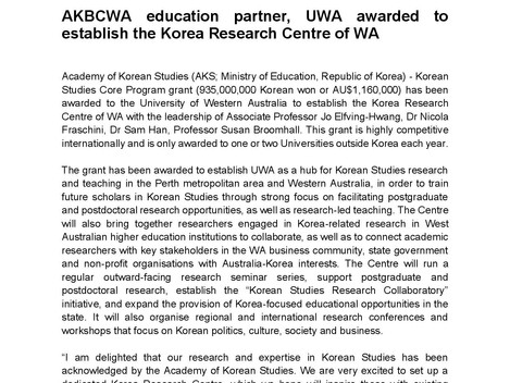 AKBCWA education partner, UWA awarded to establish the Korea Research Centre of WA
