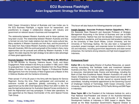 Invitation to ECU Business Flashlight on Friday, 10 May 2019