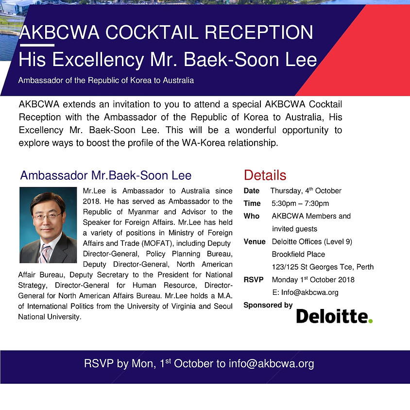 Invitation: AKBCWA Cocktail Reception with HE Mr. Baek-Soon Lee - the Ambassador of the Republic of Korea to Australia