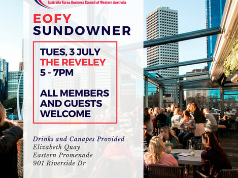 AKBCWA EOFY Sundowner w/ Jean Ough, Commissioner of WA Government Korea Office - Tuesday, July 3 201