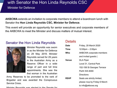 AKBCWA Boardroom Lunch with Hon Linda Reynolds, Minister of Defence